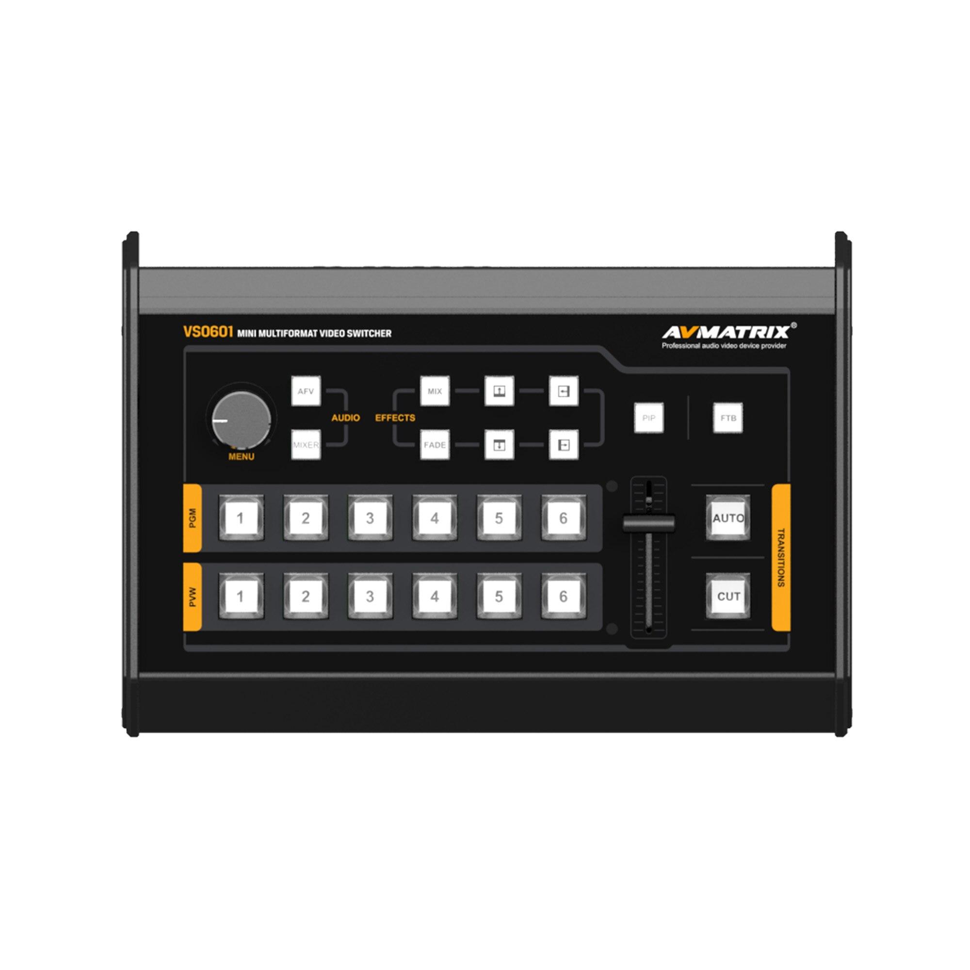 Avmatrix-VS0601-Mini-6-Channel-SDI-HDMI-Multi-format-Video-Switcher-with-T-Bar-AUTO-CUT